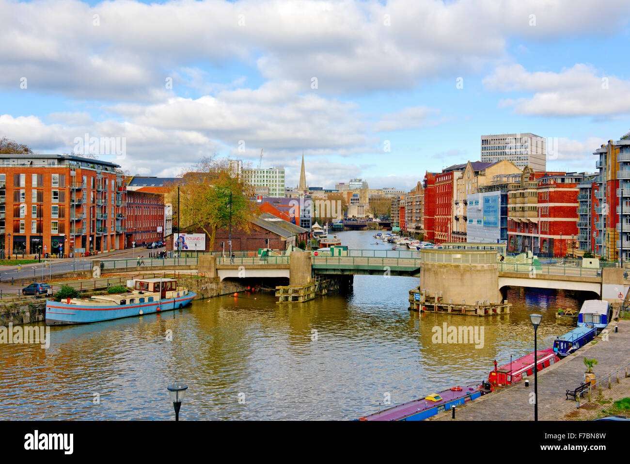 Bristol Floating Harbour by Redcliff Way bridge and Redcliff Backs, central Bristol, UK - Stock Image