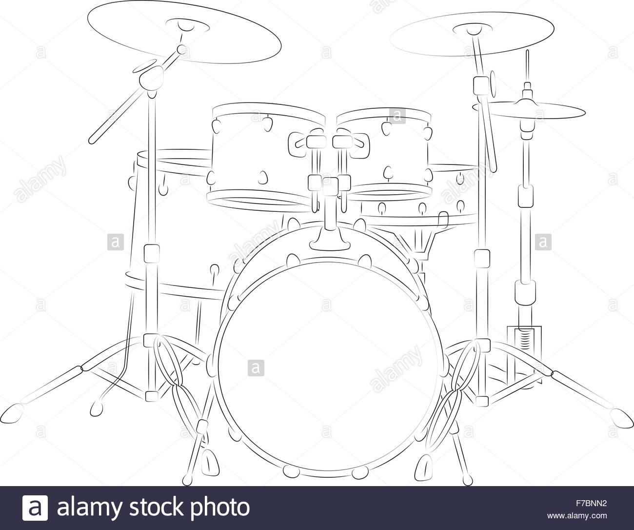 Drum Set Outline - Stock Image