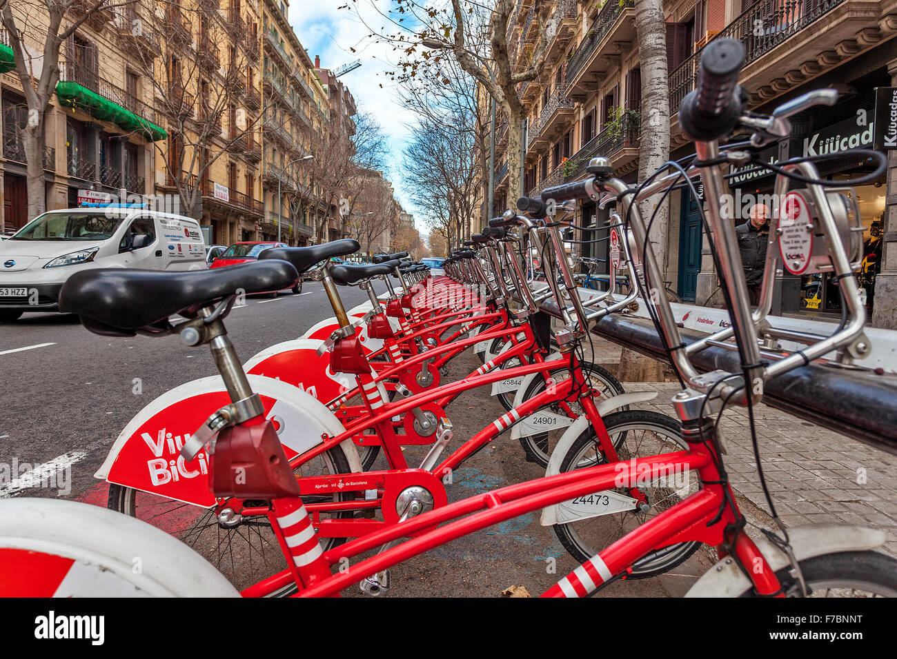 Bicing bicycles sharing station on the street of Barcelona. - Stock Image