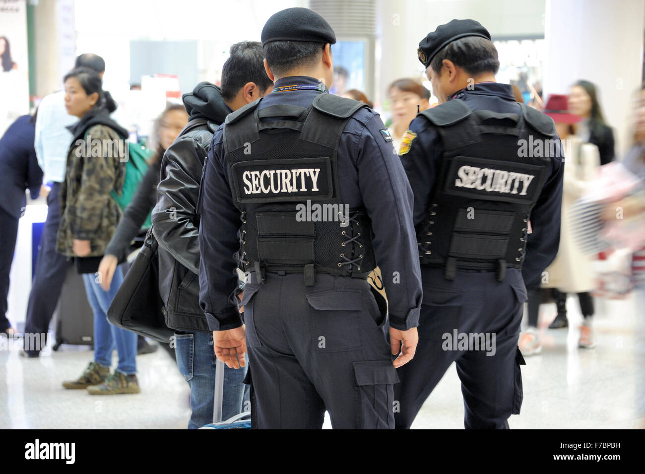 Seoul, South Korea-November 16, 2015: Airport security, police at Seoul Incheon International Airport.Taken with - Stock Image