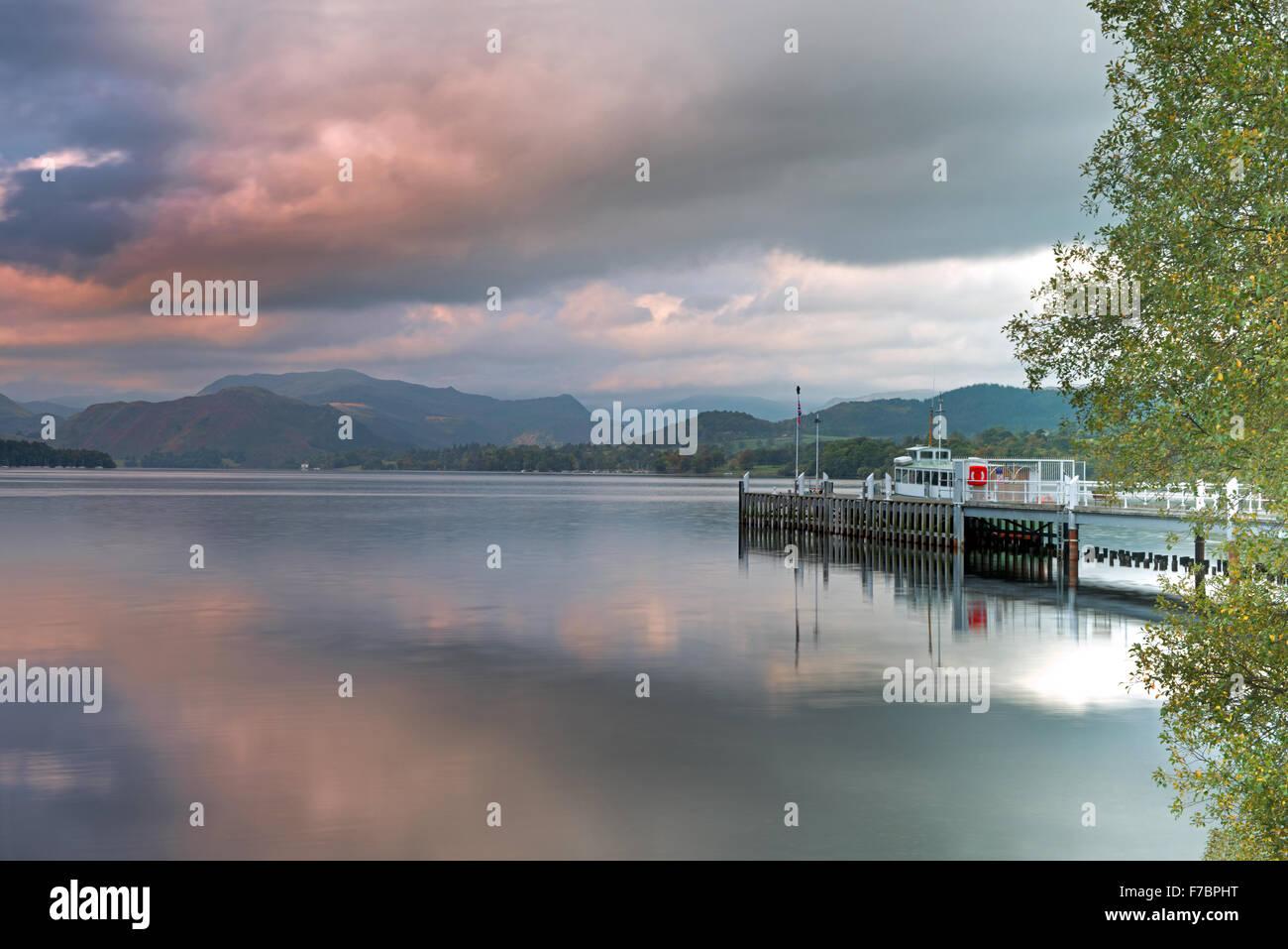 Steamer and Ferry Landing on Ullswater Lake, Pooley Bridge, Lake District National Park, Cumbria, England, Uk, Gb Stock Photo