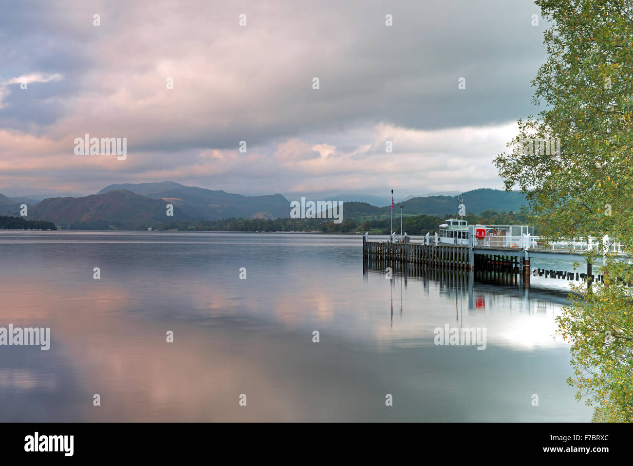 Steamer and Ferry Landing on Ullswater Lake, Pooley Bridge, Lake District National Park, Cumbria, England, Uk, Gb - Stock Image