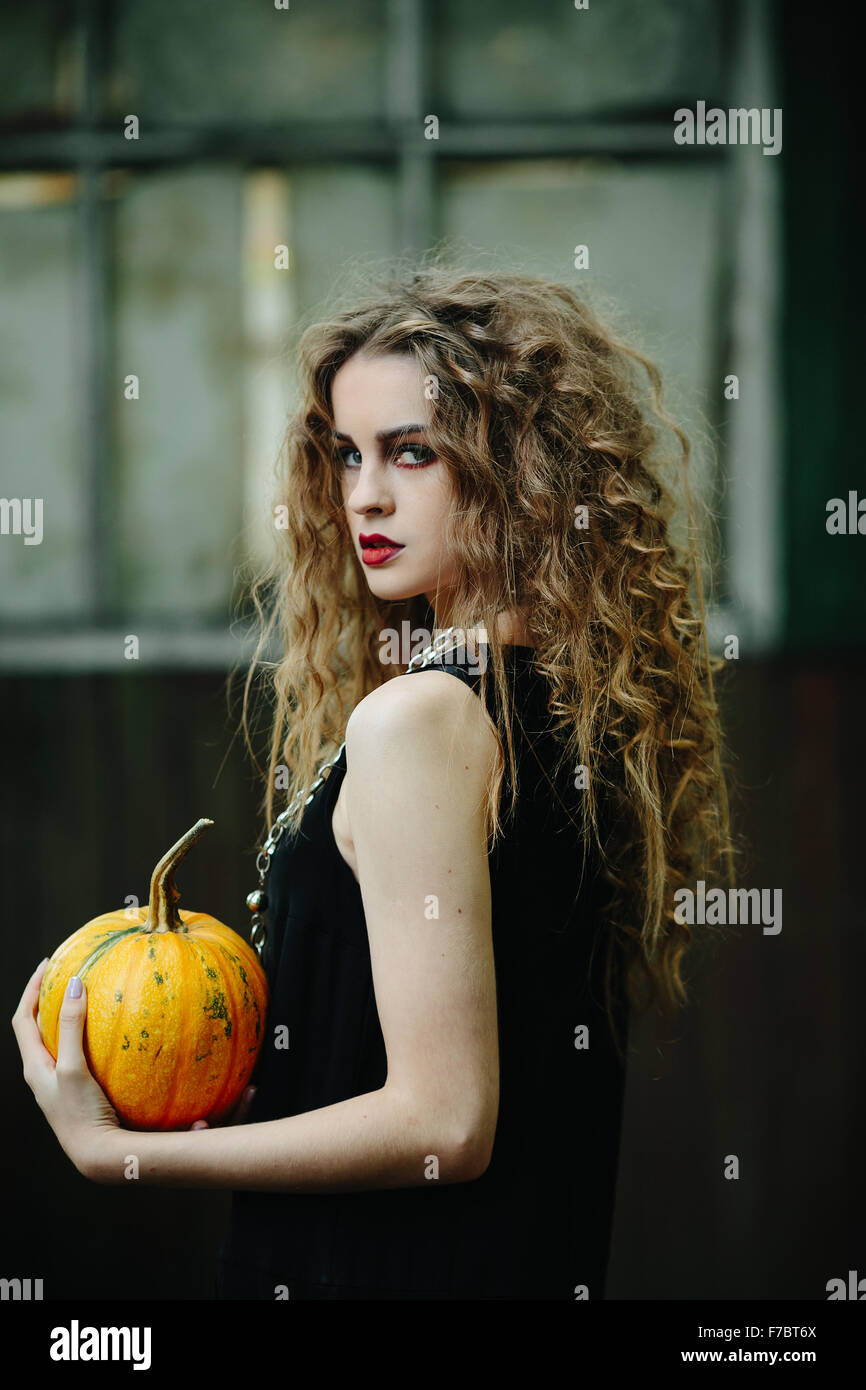 Vintage woman as witch - Stock Image