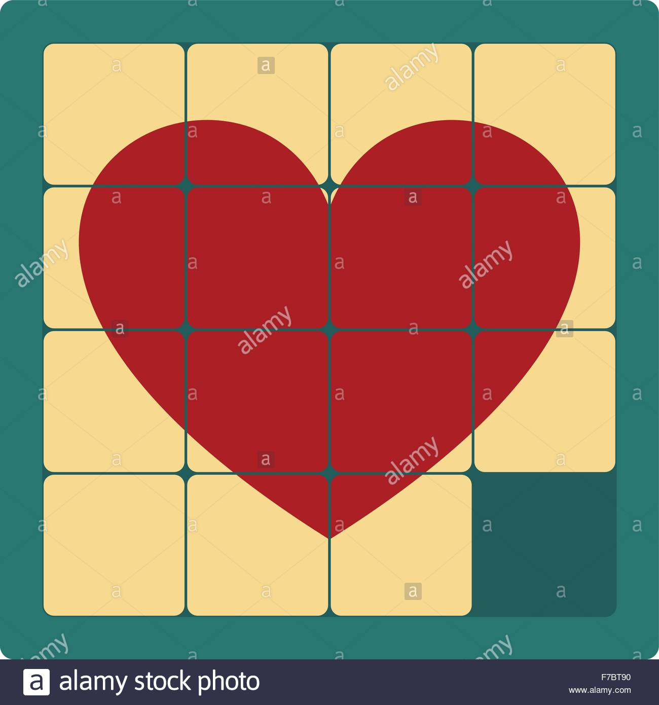 vintage heart puzzle - Stock Vector