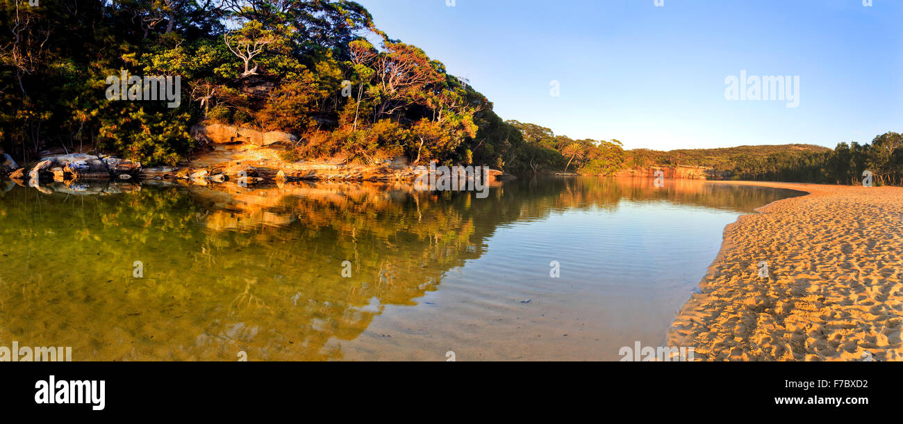 freshwater billabong in Australia NSW Royal national park with sandy beach and reflecting gum trees at sunrise - Stock Image