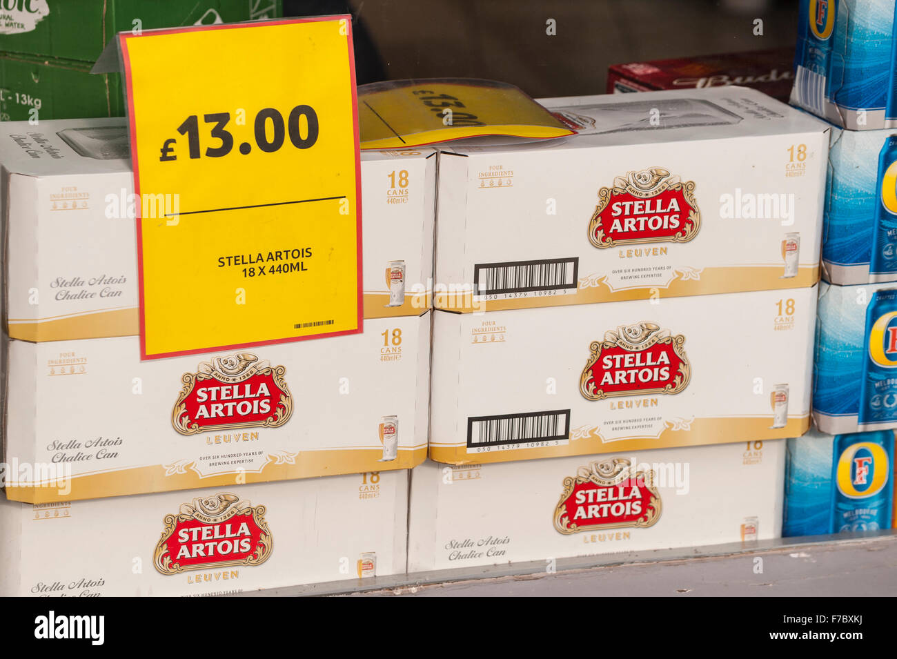 Cheap Stella Artois lager beer for sale in a supermarket in the Uk - Stock Image