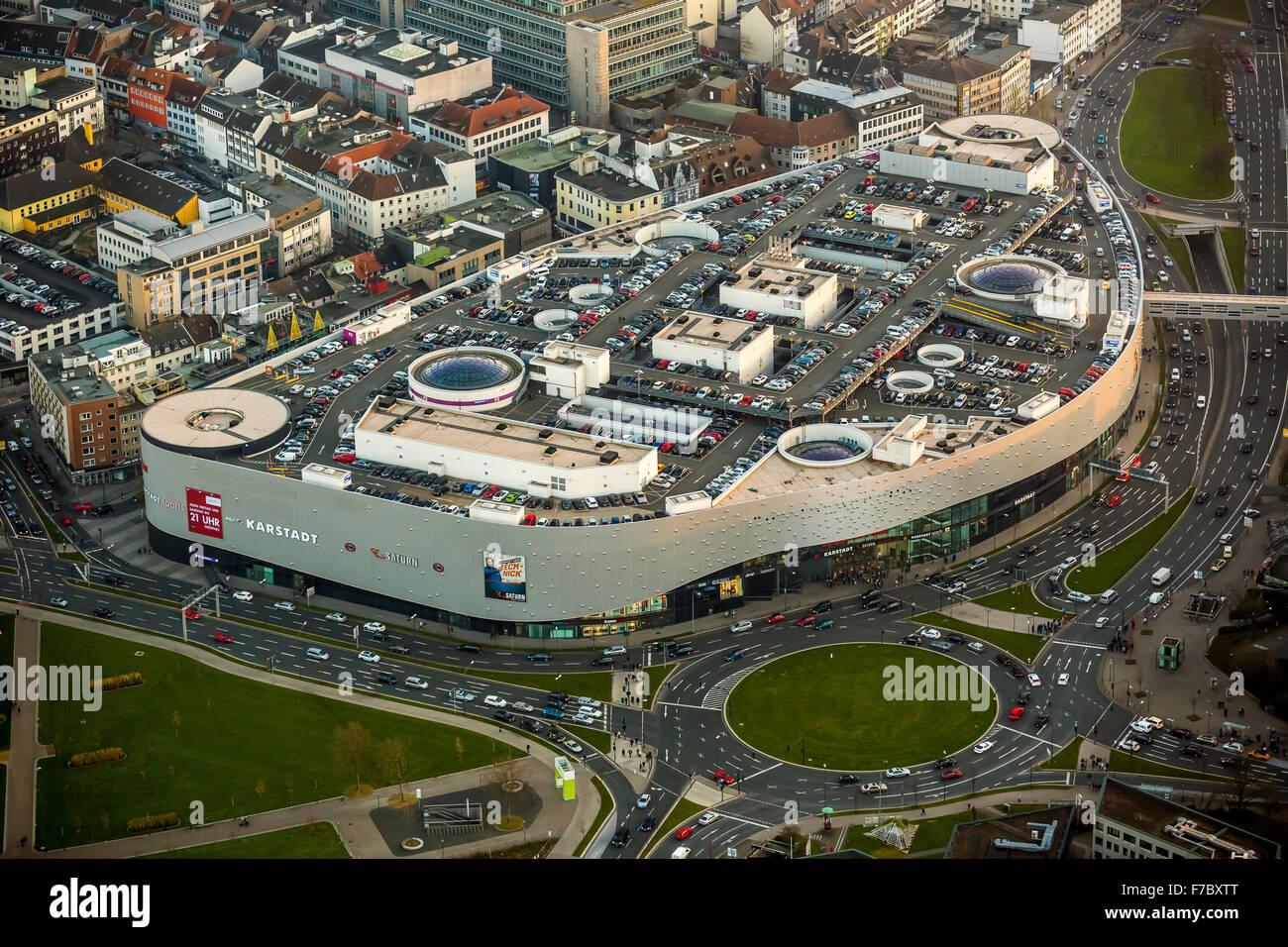 Limbecker Platz Shopping Centre, Essen, Ruhr area, North Rhine-Westphalia, Germany, Europe, Aerial view, birds-eyes - Stock Image