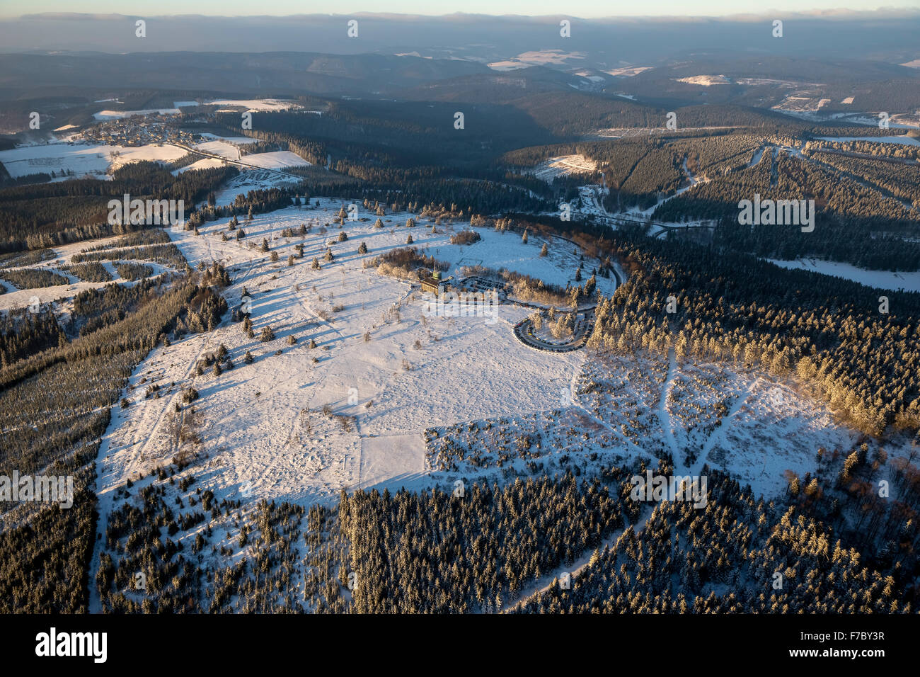 Kahler Asten Winterberg, highest elevation of the Sauerland, snow, Highest point in North Rhine-Westphalia, Winterberg, - Stock Image