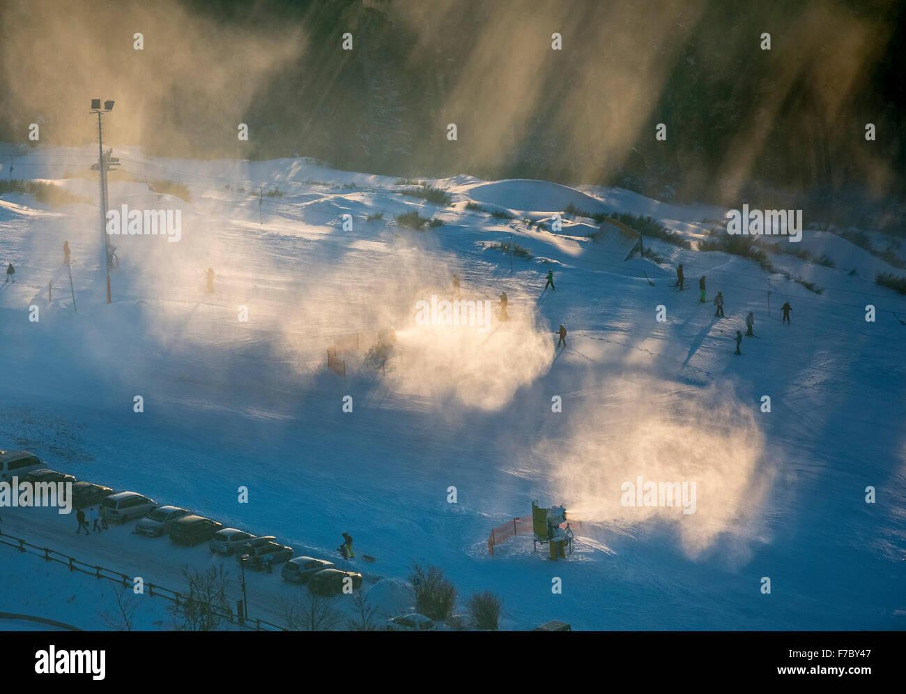 Snow cannons in use, Winterberg, Hochsauerlandkreis, downhill skiing Nordrhein-Westfalen, Germany, Europe, Aerial Stock Photo