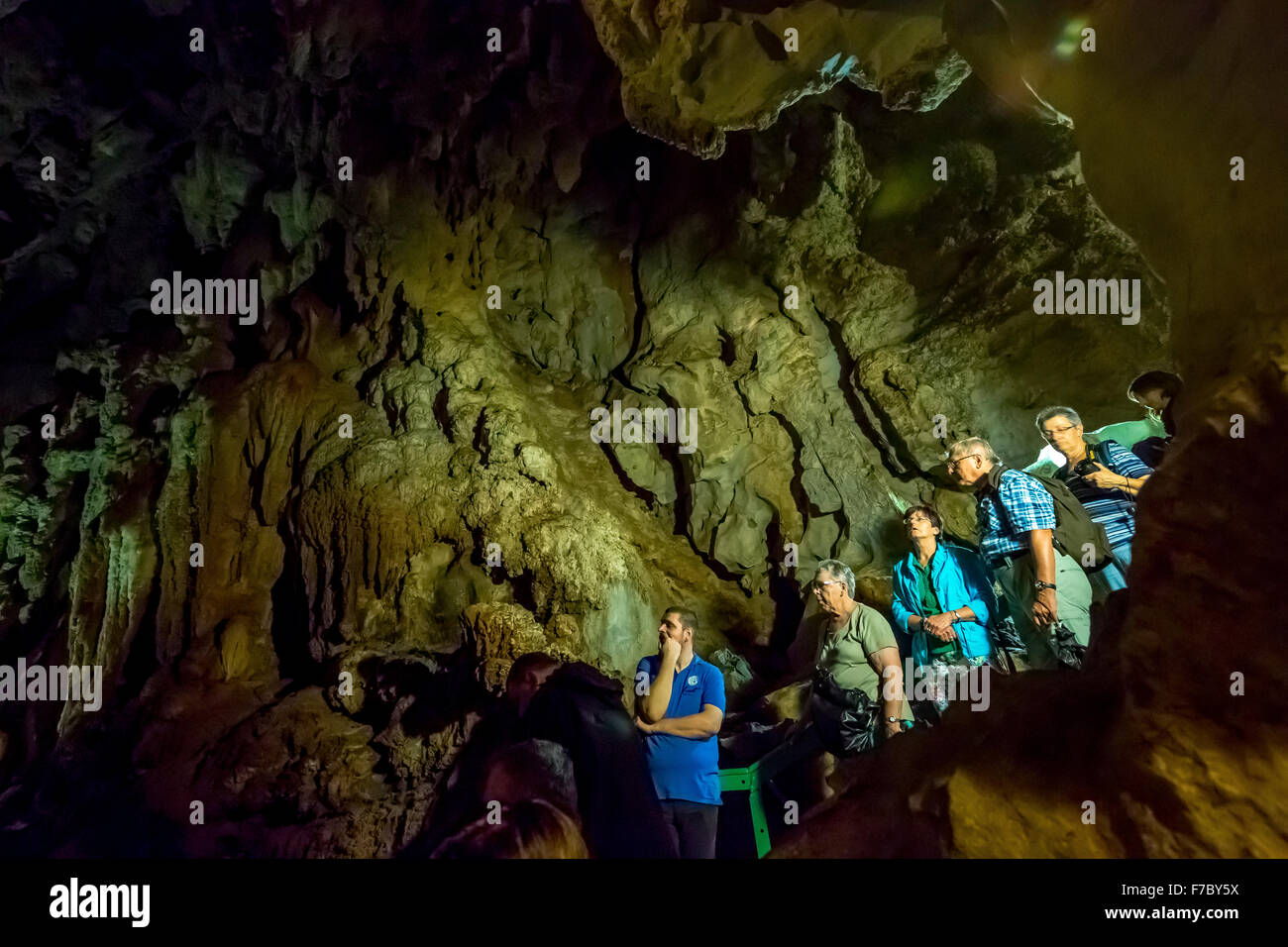 Tourists roam the caves, caves of the Indians, Cueva del Indio, underground caves with a Wassserlauf, caves of the - Stock Image