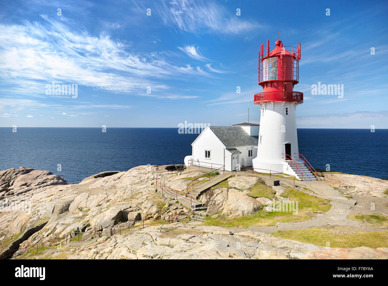 Lighthouse at Lindesnes, Norway - Stock Image