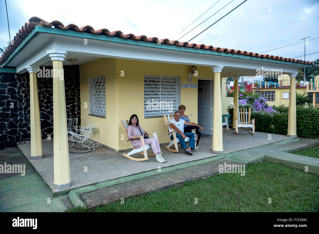 Casa Particular, private accommodation, guest house, tourist with hosts, Cuba, Pinar del Río, Cuba, North America - Stock Image
