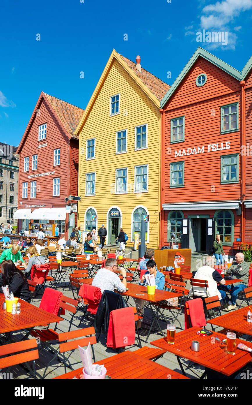 Wooden warehouses, Bryggen, Bergen, Norway - Stock Image
