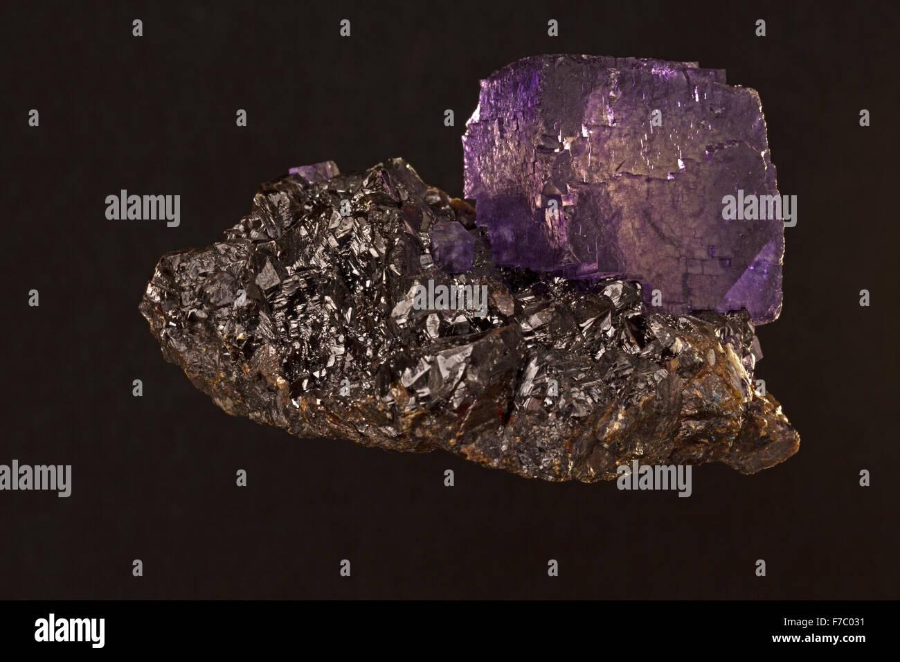fluorite on Sphalerite, Elmwood mine, Eennessee - Stock Image