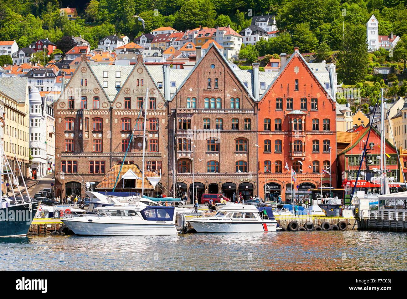 View of historical buildings, Bryggen, Bergen, Norway UNESCO - Stock Image