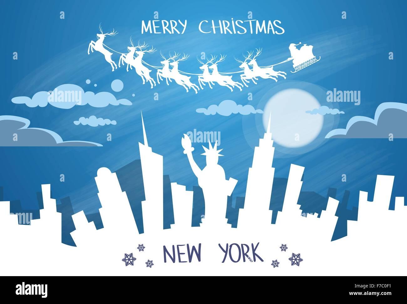 Santa Claus Sleigh Reindeer Fly Sky over New York City USA Silhouette - Stock Image