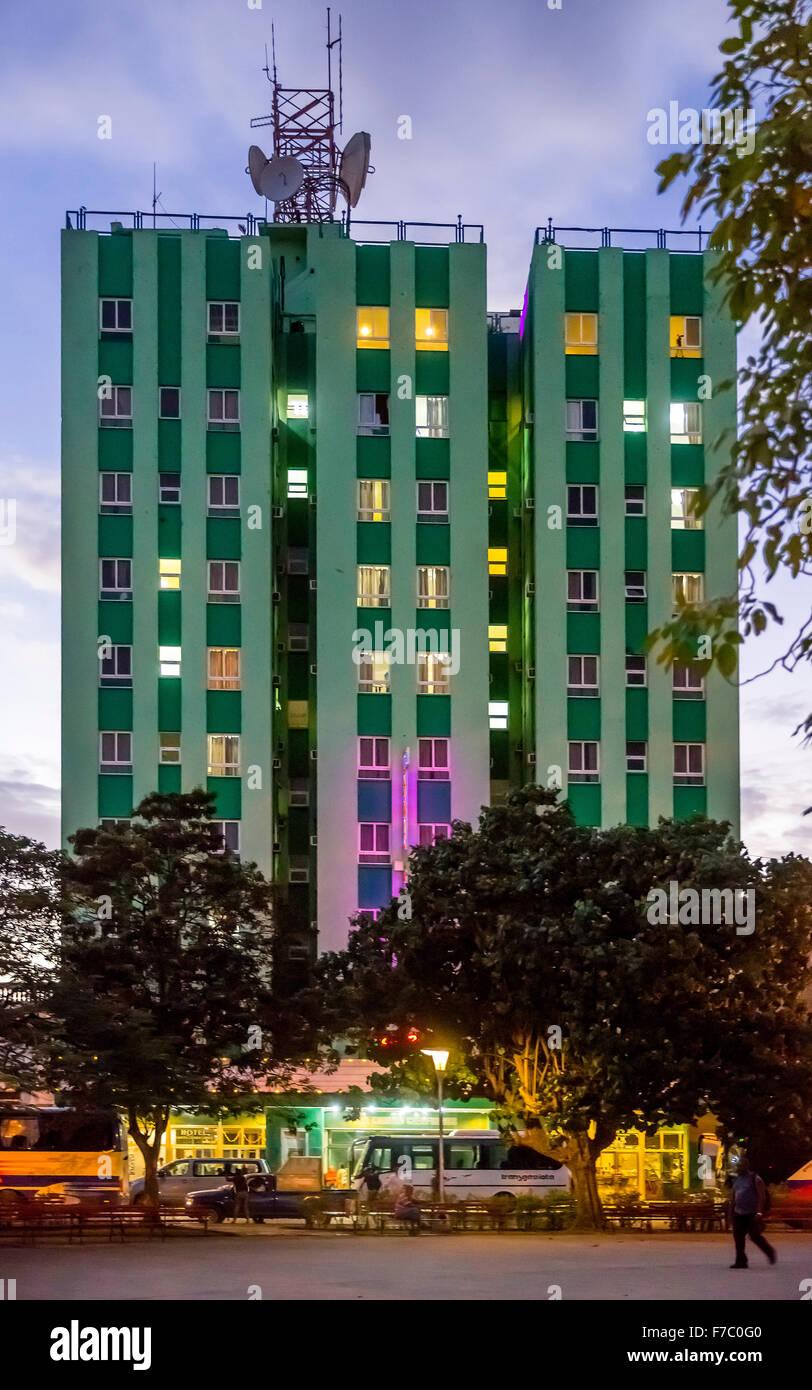 Hotel Santa Clara Libre on Vidal Park, Street Life in the center of Santa Clara at Parque de Santa Clara, Santa - Stock Image