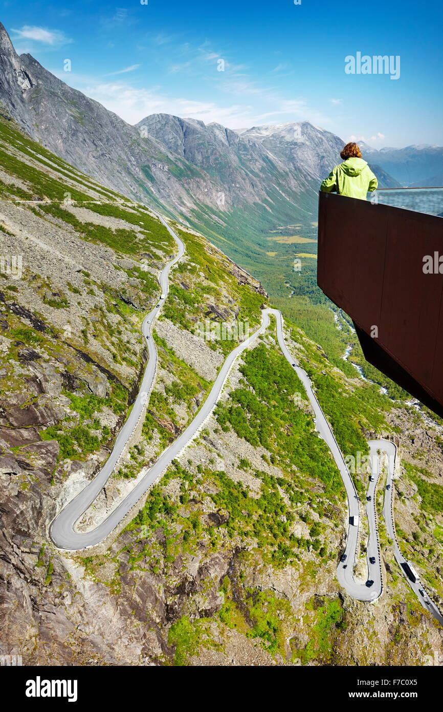 Tourist on the viewing platform, Trollstigen high mountain road, Norway - Stock Image