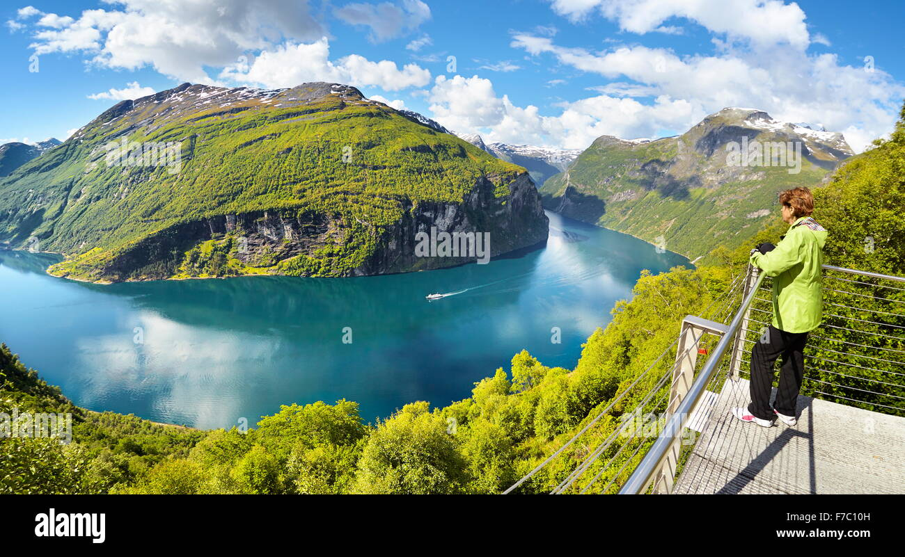 Landscape viewpoint of Geiranger Fjord, Norway Stock Photo