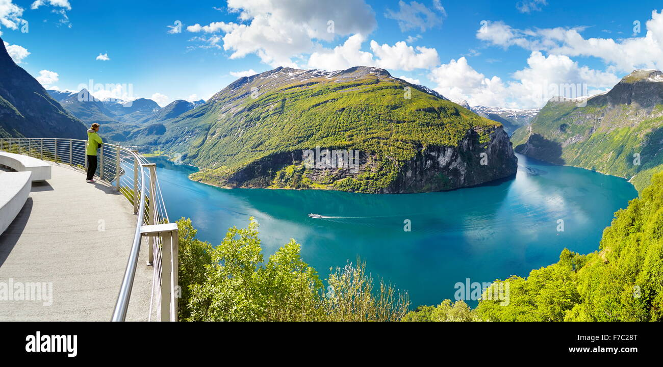 Geiranger Fjord, panoramic view, Norway - Stock Image