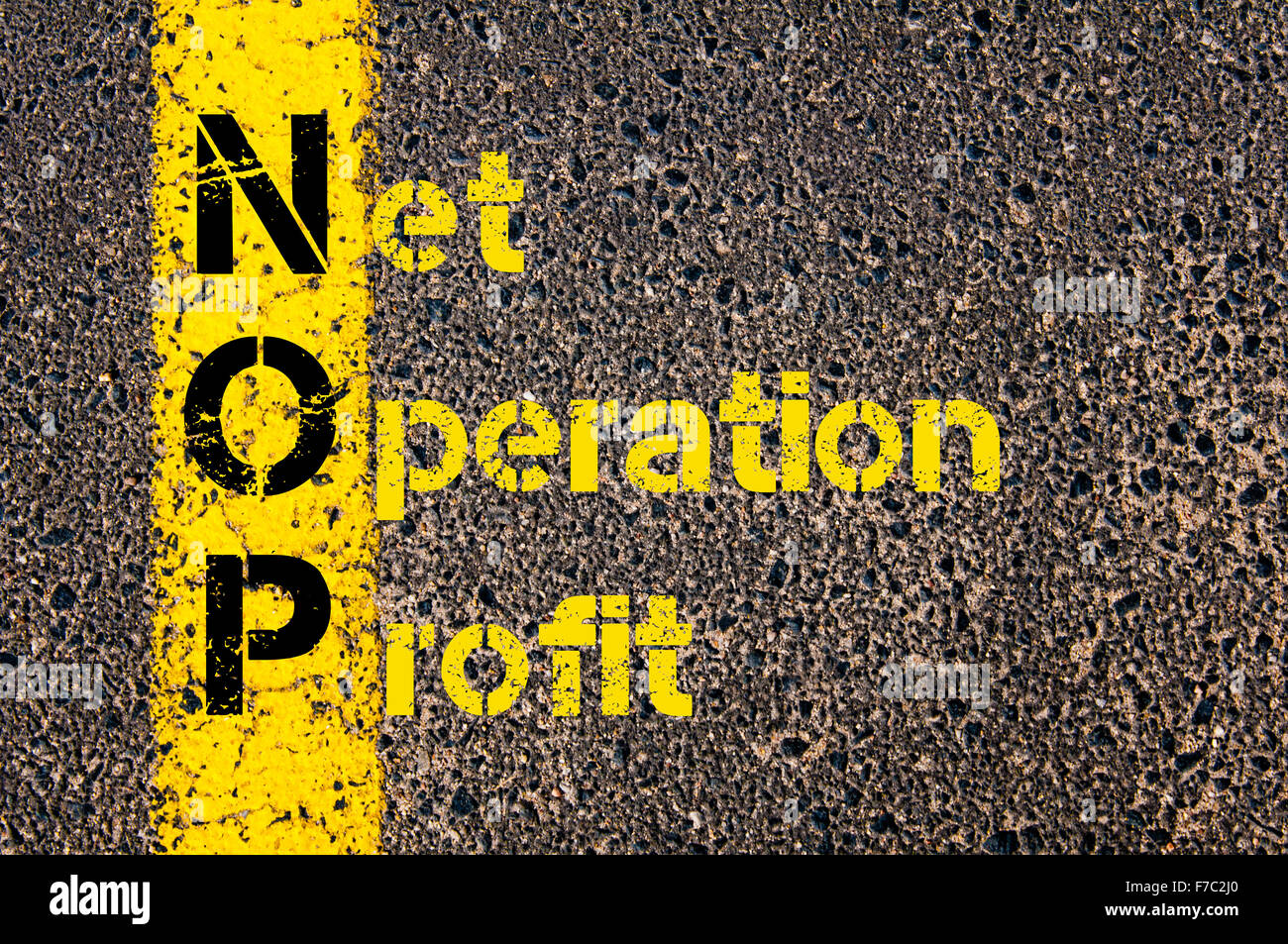 Concept image of Business Acronym NOP as Net Operation Profit written over road marking yellow paint line. - Stock Image