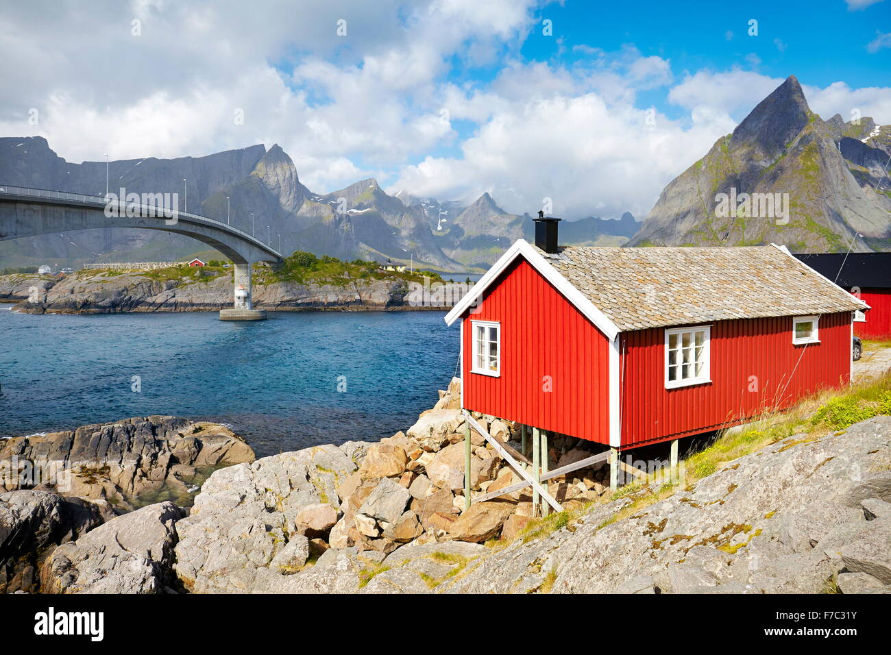 Traditional red hut rorbu house on Lofoten Islands, Norway - Stock Image