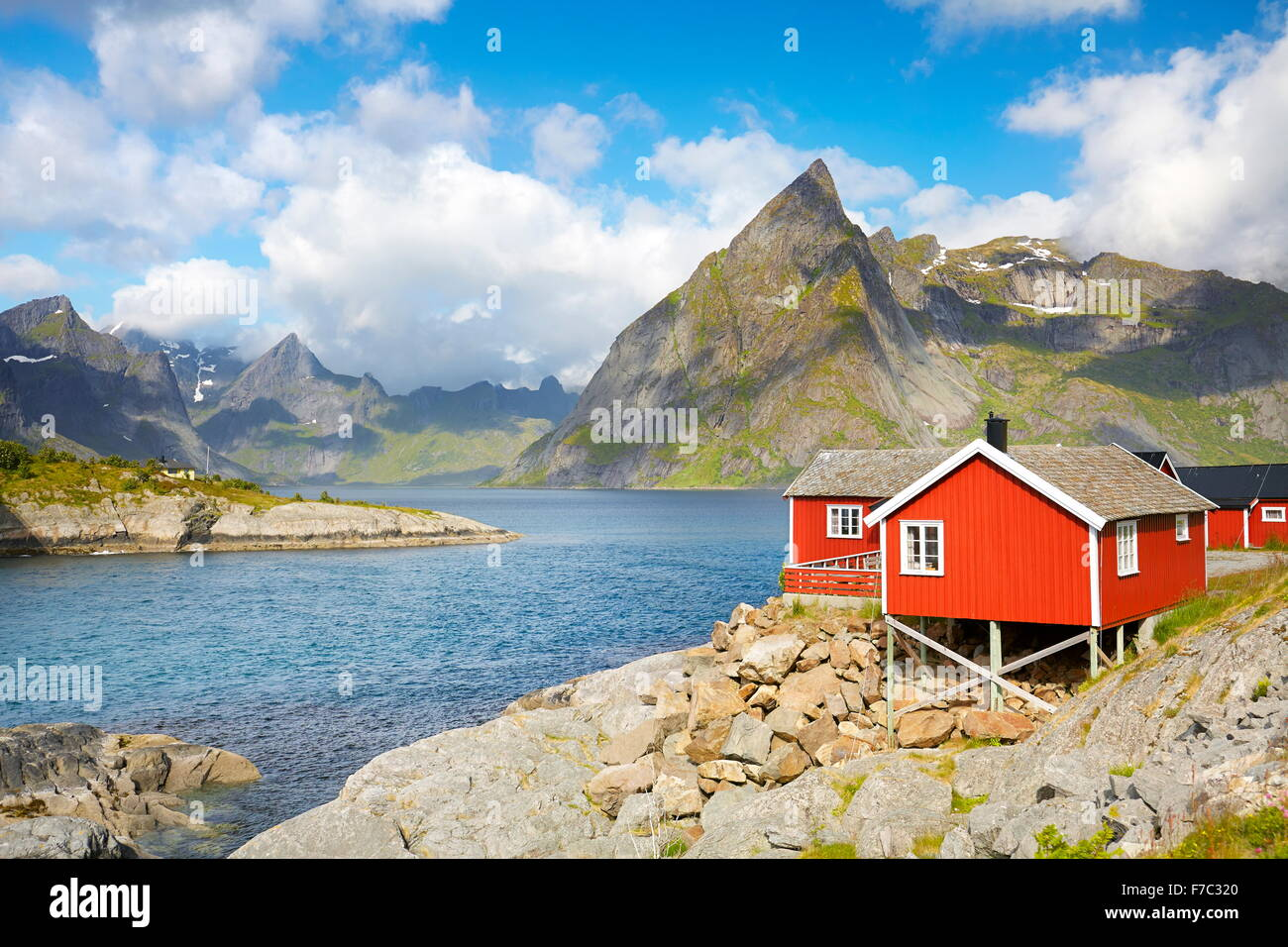 Traditional red fishermen house rorbu, Lofoten Islands, Norway - Stock Image