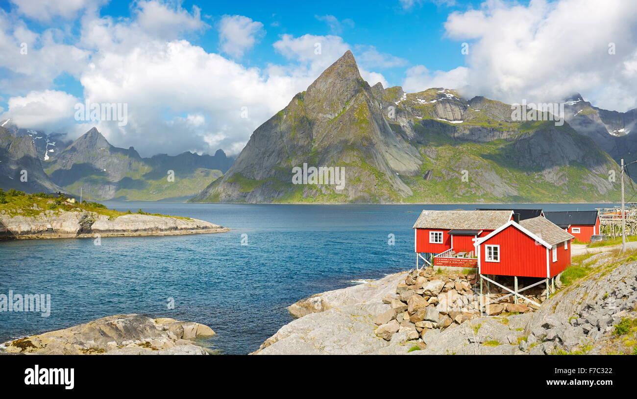 Fishermen red rorbu cottage, Lofoten Islands, Norway - Stock Image