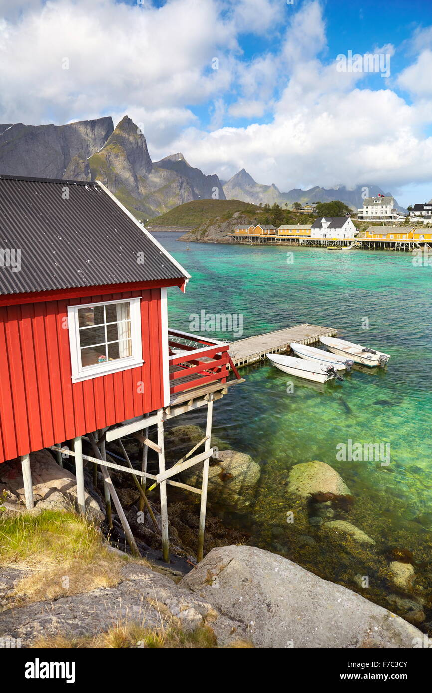 Traditional red wooden fishermen`s cottage, Lofoten Island, Norway - Stock Image