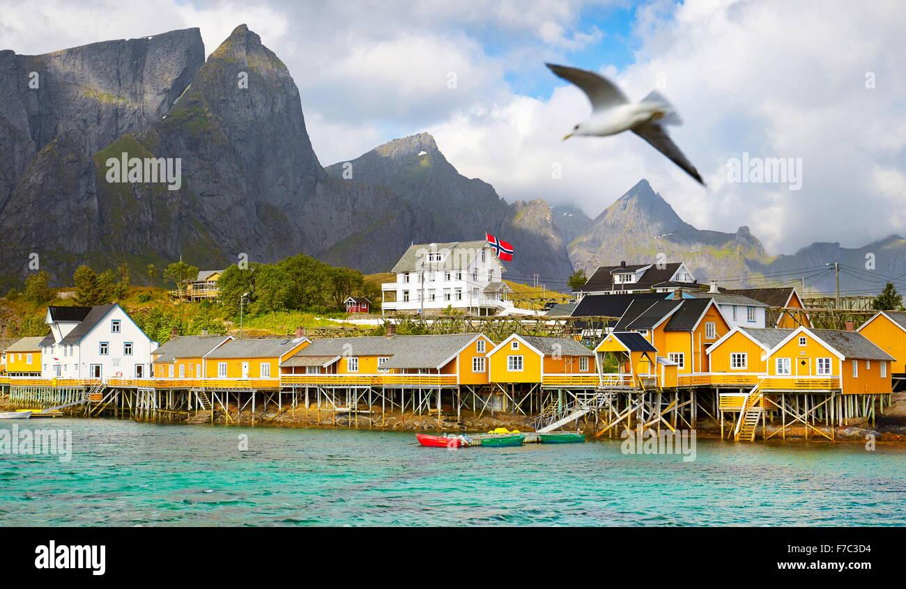 Lofoten Islands, fishermen house rorbu, Norway, - Stock Image