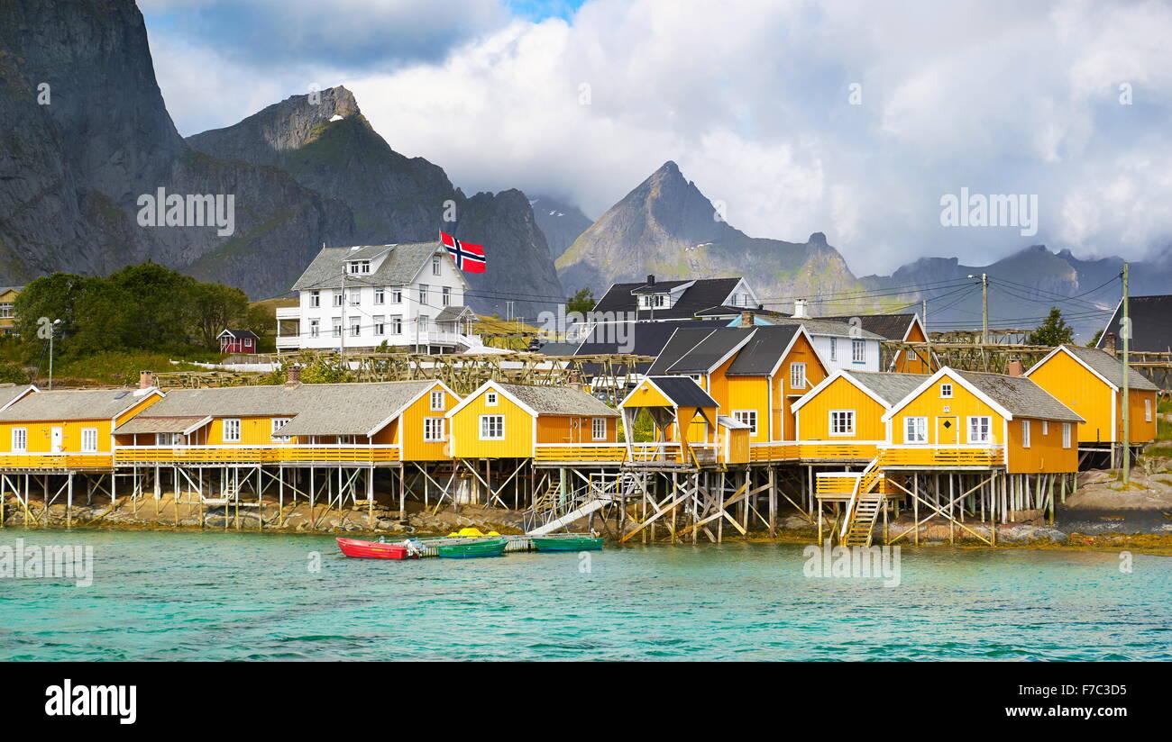 Fishermen houses rorbu, Lofoten Islands, Norway - Stock Image