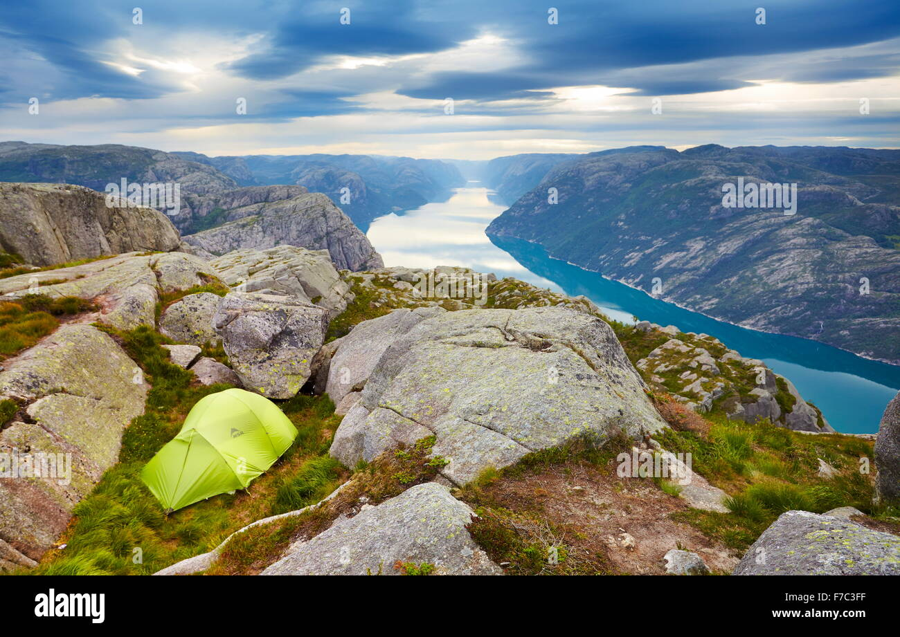 The tent pitched above Lysefjorden near Preikestolen, Norway - Stock Image