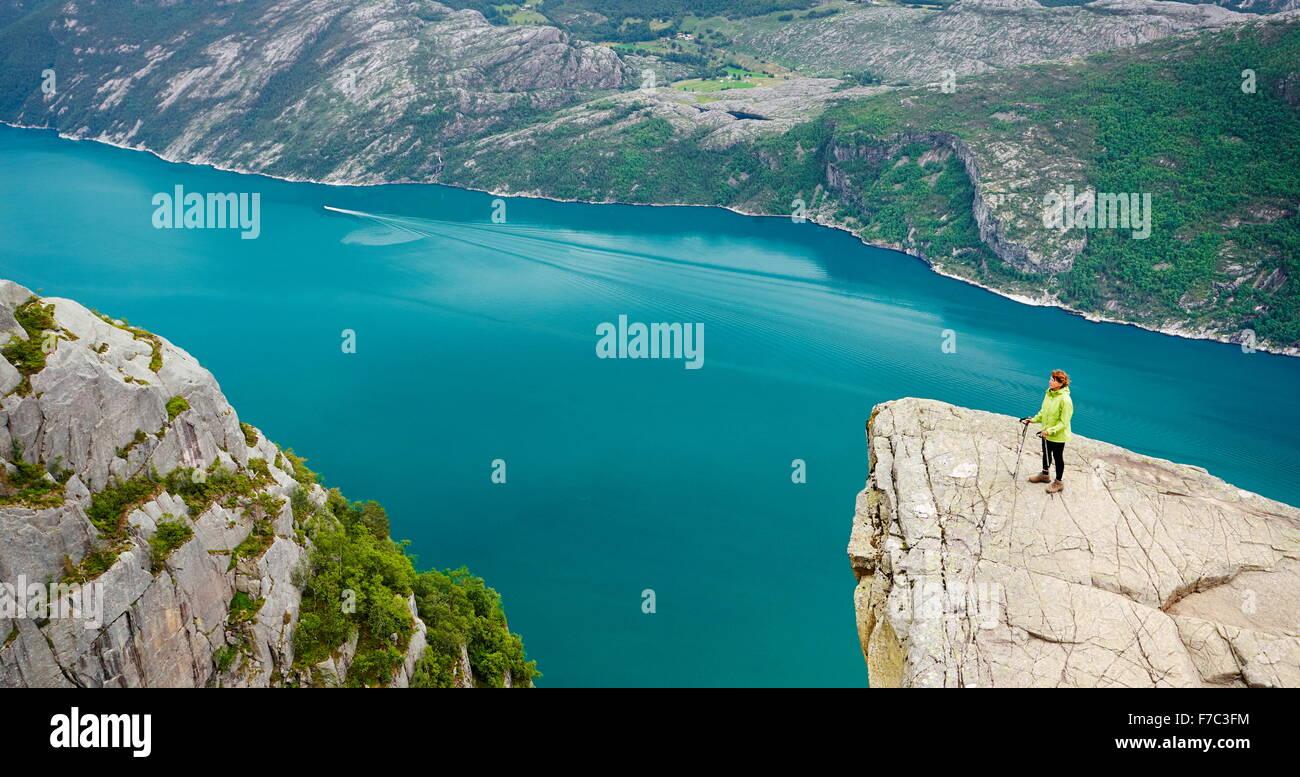 Lysefjorden near Preikestolen, Norway - Stock Image