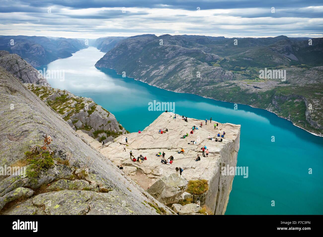 Preikestolen landscape (Pulpit Rock), Lysefjorden, Norway - Stock Image
