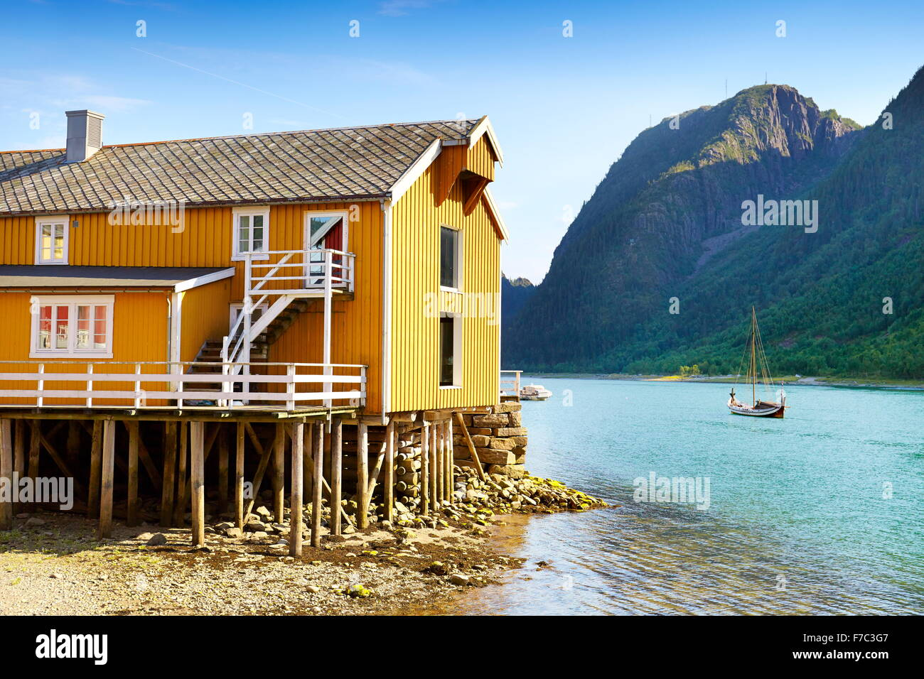 Traditional wooden stilt house, Mosjoen, Norway - Stock Image