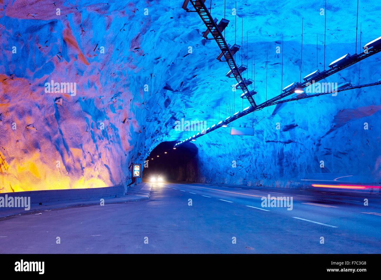 Laerdal Tunnel between Aurland and Laerdal, Laerdalstunnelen (the world's longest at 24,5 km) Aurland, Norway - Stock Image