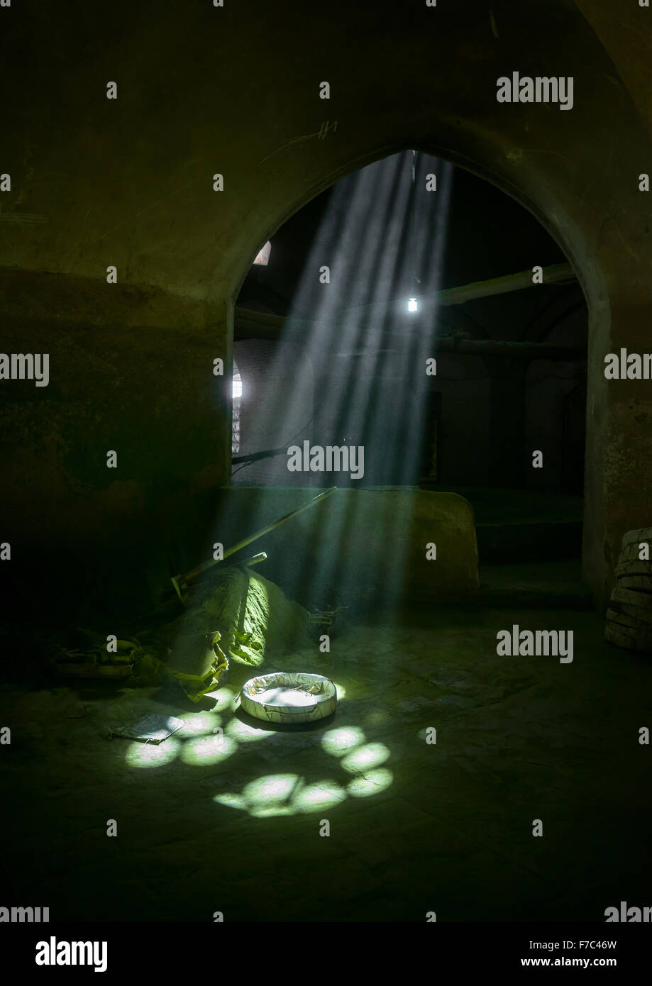 Sunlight Into A Traditional Henna Mill, Yazd Province, Yazd, Iran - Stock Image