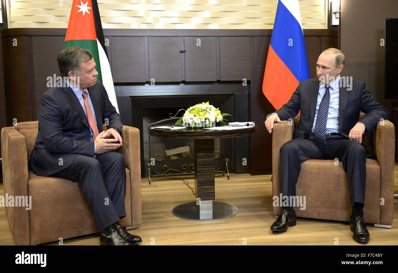 Russian President Vladimir Putin meets with King Abdullah II of Jordan at the Bocharov Ruchei residence November - Stock Image