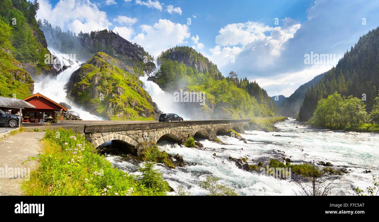 Latefossen waterfall, Hordaland, Norway - Stock Image