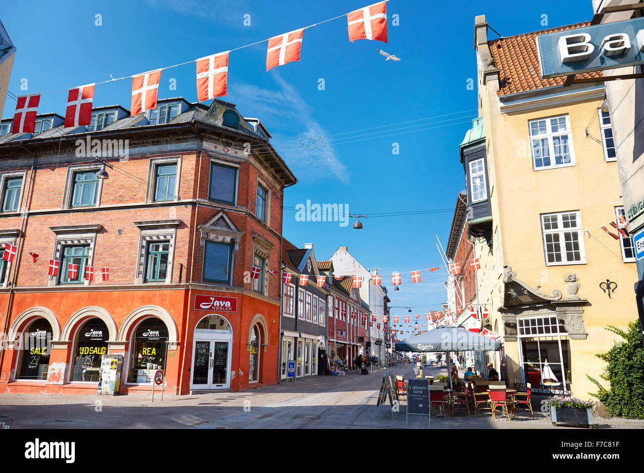 Old town in Helsingor city, Denmark - Stock Image