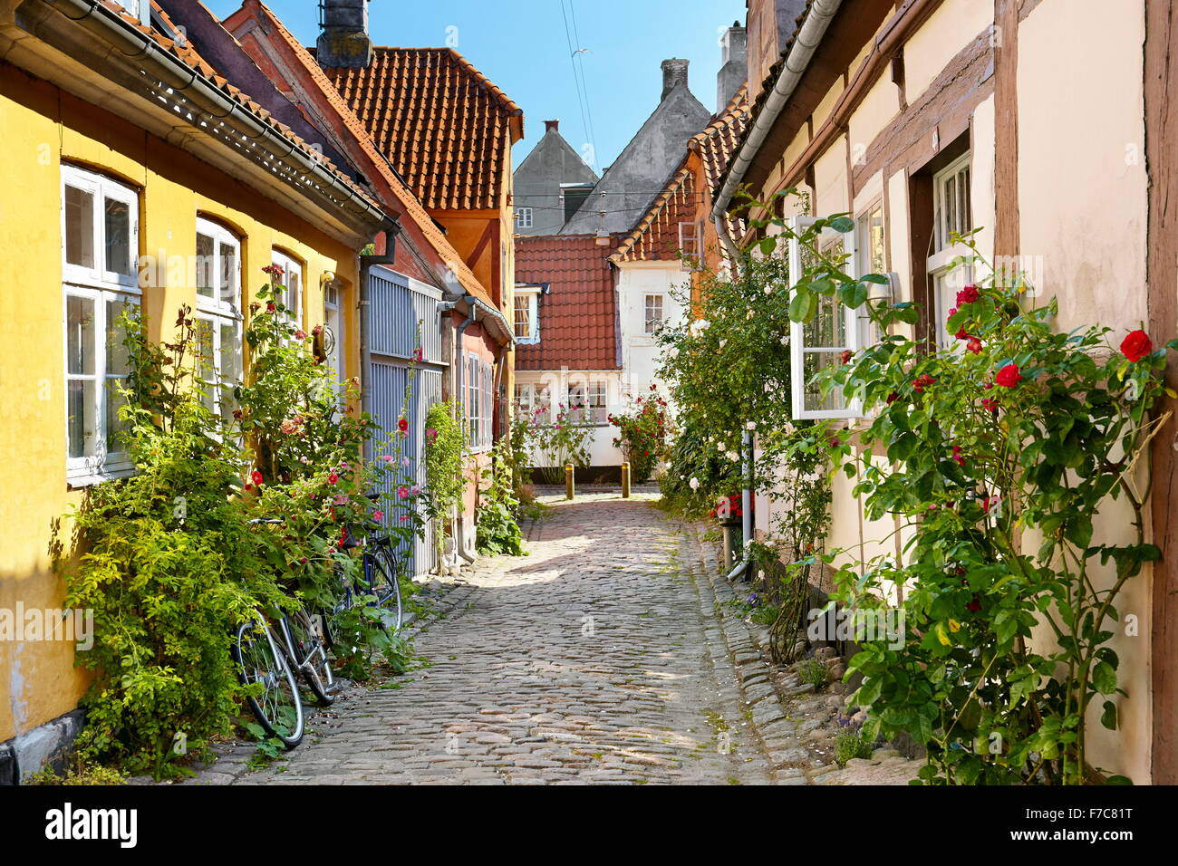 Old town in Helsingor, Denmark - Stock Image