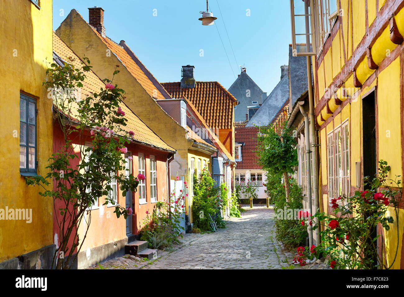 Old town city in Helsingor, Denmark - Stock Image