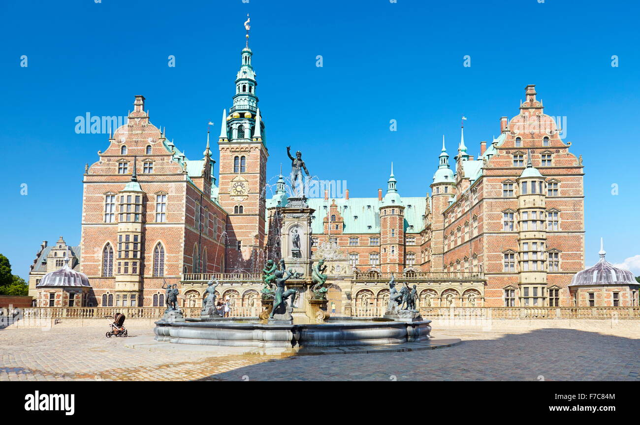 Neptune Fountain at Frederiksborg Palace, Hillerad, Denmark Stock Photo
