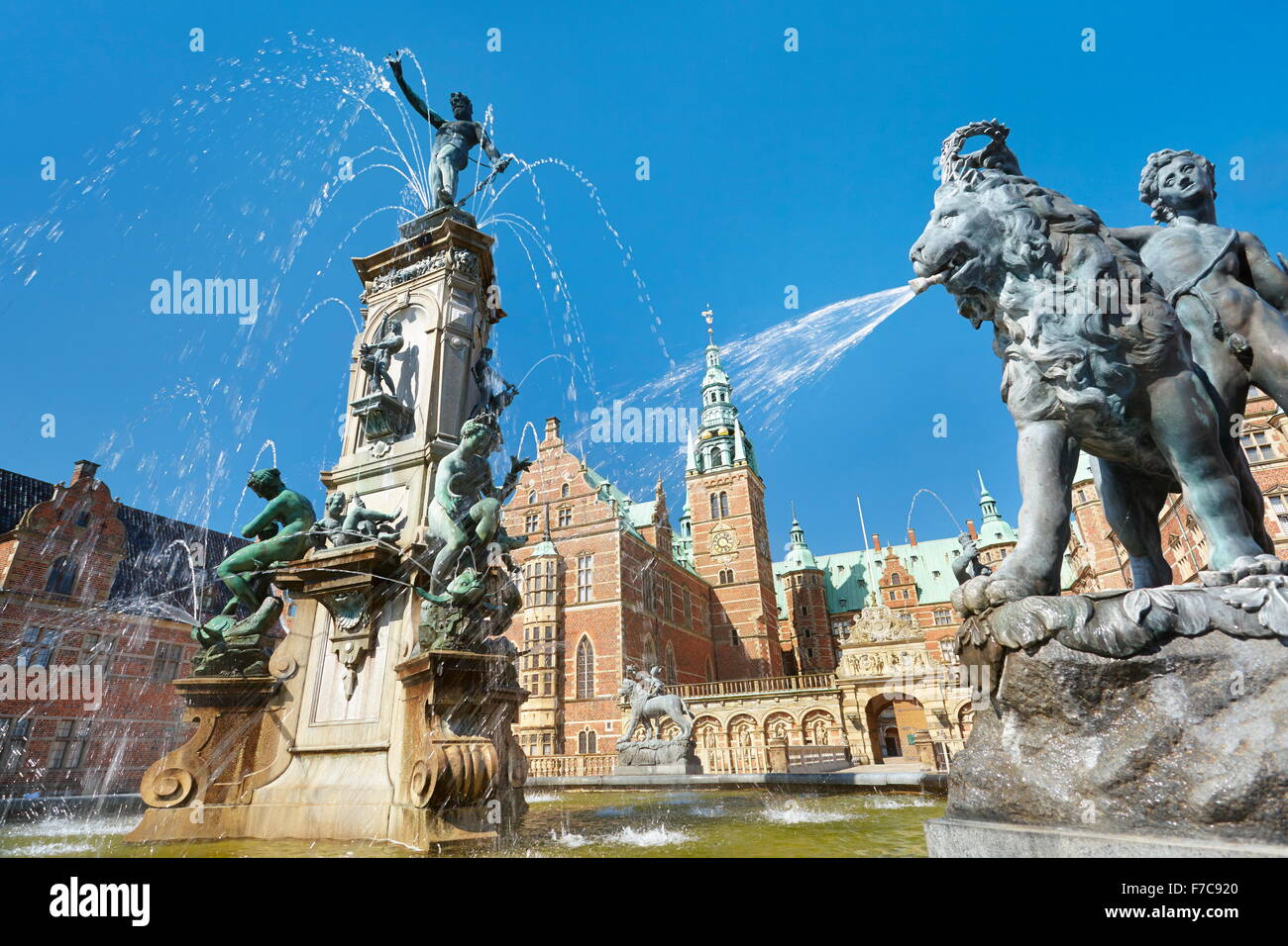 Neptune Fountain at Frederiksborg Palace, Hillerad, Denmark - Stock Image