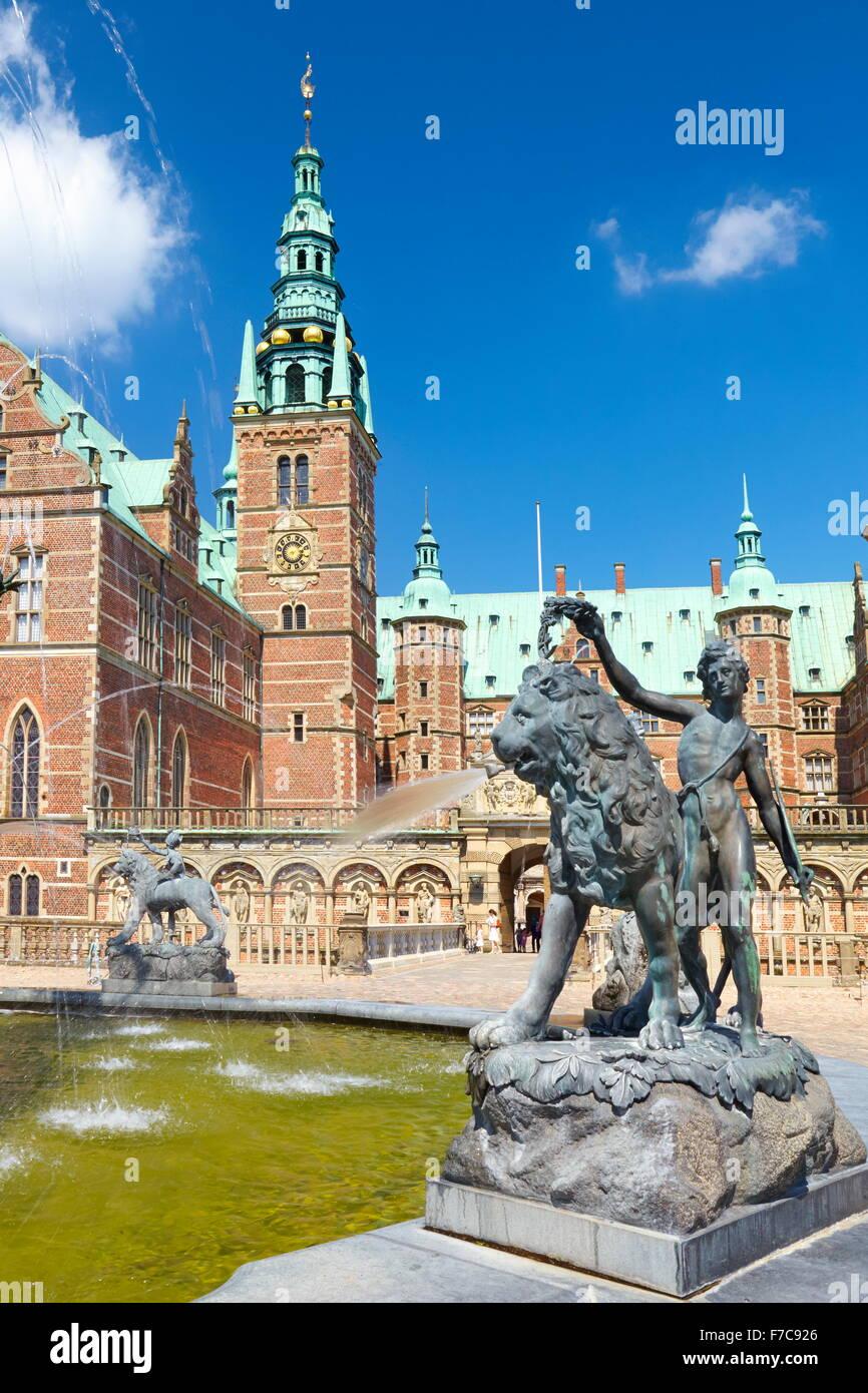 Neptune Fountain at Frederiksborg Castle, Denmark - Stock Image