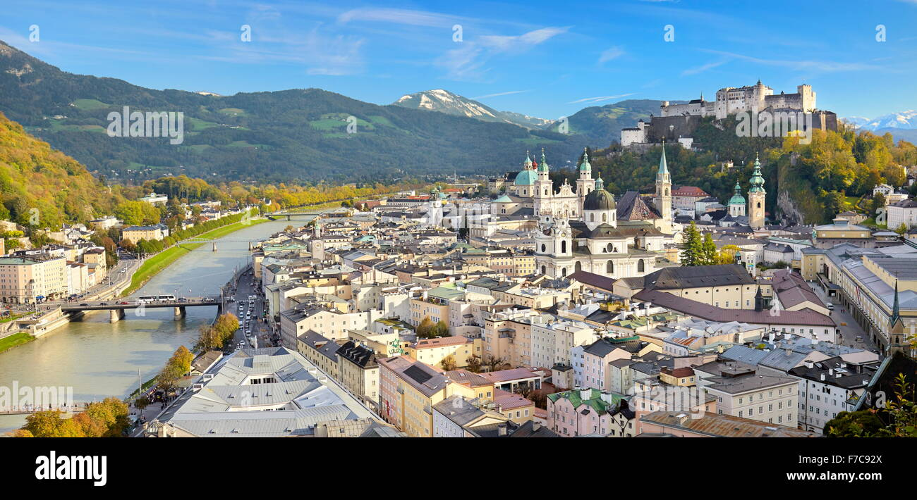 Austria - panoramic aerial view of Salzburg Old Town - Stock Image
