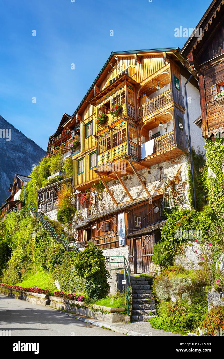 Hallstatt village - typical house, Salzkammergut, Upper Austria - Stock Image