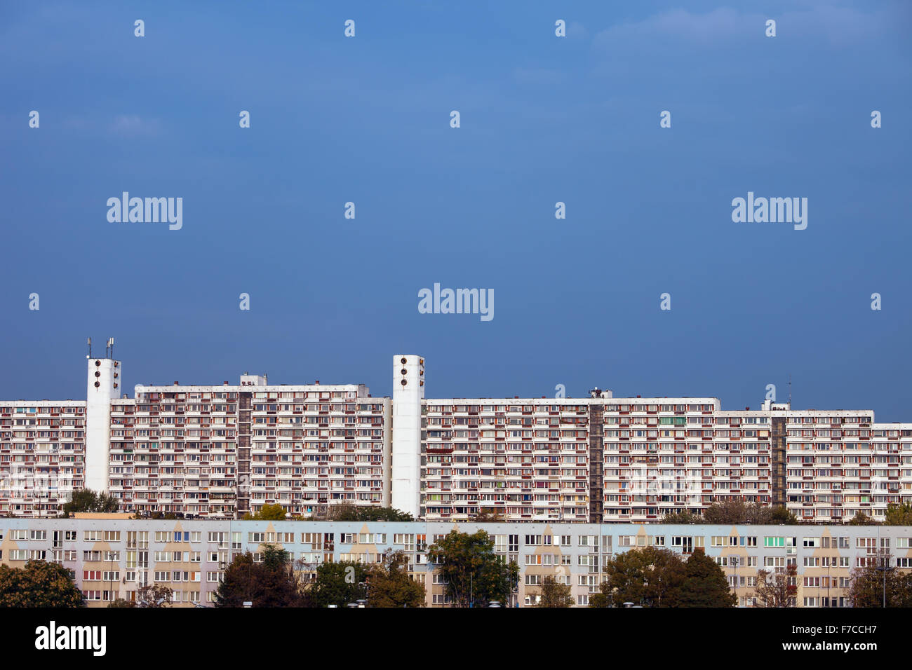 City of Wroclaw, Poland, large blocks of flats, large apartment buildings, condominium, residential architecture. Stock Photo
