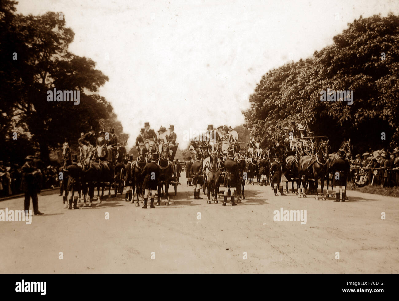 A Coaching Club Meet, Hyde Park, London - Victorian period - Stock Image