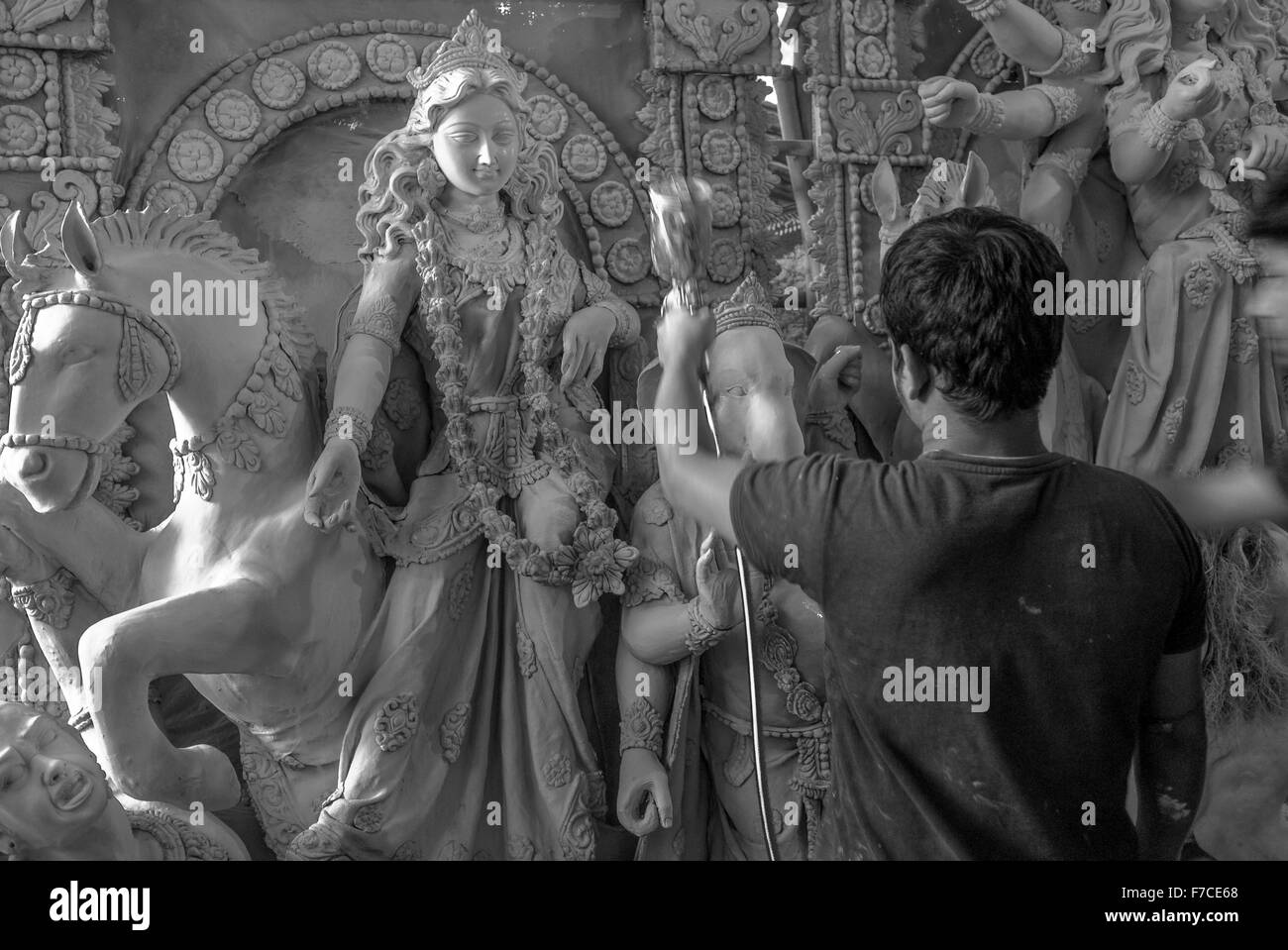 Indian idols sculpture preparation for the Durga traditional festival, India. - Stock Image